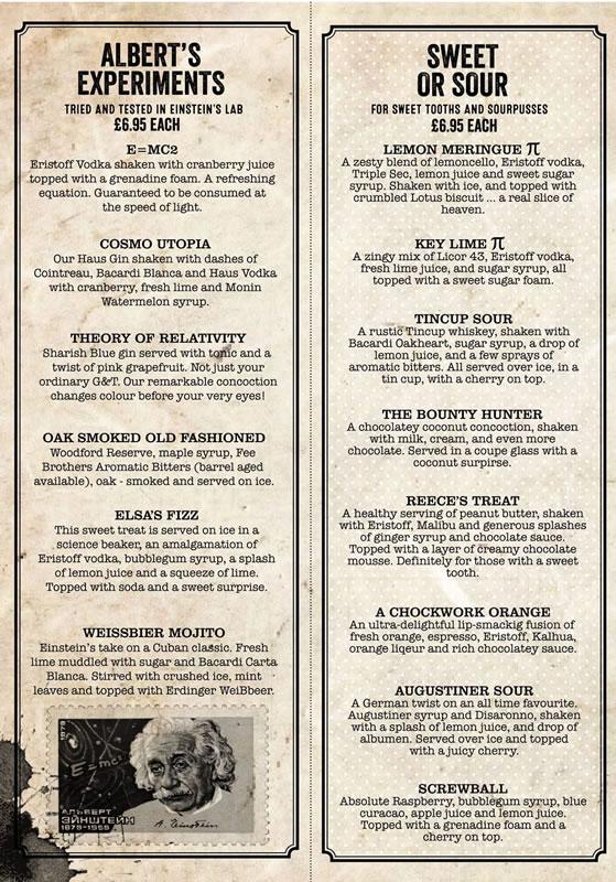 einstein's restaurant cocktails