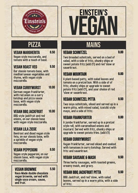 einstein's chesterfield vegan food menu