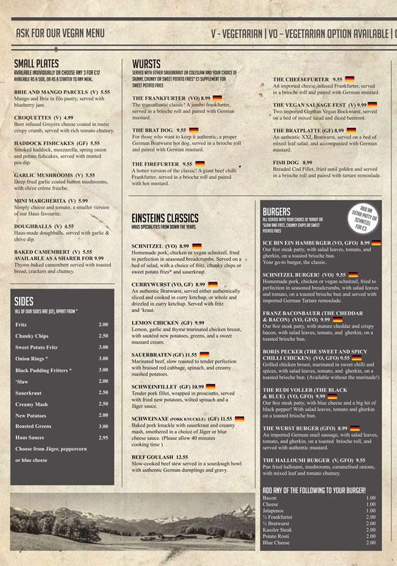 einstein's chesterfield lunch menu